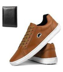 kit sapatênis casual sw shoes com carteira caramelo