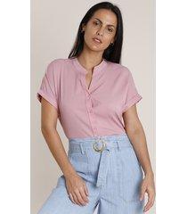 camisa feminina ampla manga curta gola padre rosa