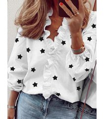 blusa de manga larga con cuello en v y ribete de volantes con estampado de estrellas
