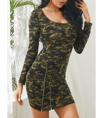 yoins army green camo zip front mini vestido