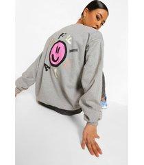 oversized sweater met smiley rugopdruk, bright pink
