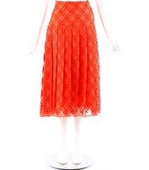 fendi sangallo red silk organza pleated skirt red sz: l