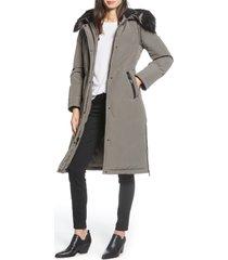 women's sam edelman water resistant long parka with faux fur trim, size large - grey