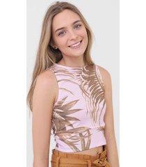 regata cropped rip curl palm bay rosa/bege - rosa - feminino - dafiti