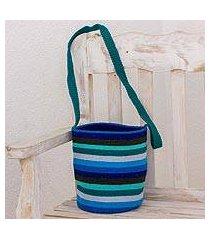 crocheted cotton bucket bag, 'ocean breeze' (guatemala)