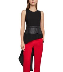 bcbgmaxazria asymmetrical top with faux-leather trim