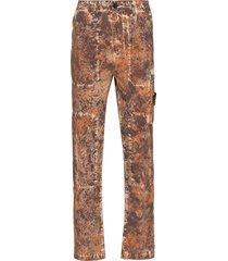 stone island mottled-effect straight-leg cargo trousers - brown