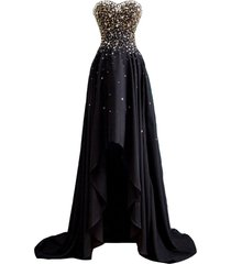 kivary black and gold beaded high low chiffon formal prom dresses evening gowns