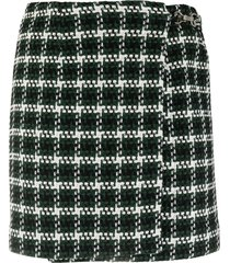 rokh side buckle checked print skirt - green