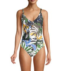 shirred tropical one-piece swimsuit