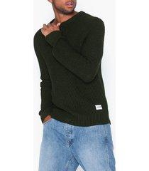 jack & jones jcostanford knit crew neck noos tröjor mörk grön