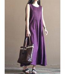 vintage vestito plissettato senza maniche con collo tondo in color a tinta unita