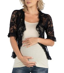 24seven comfort apparel sheer lace open front maternity cardigan