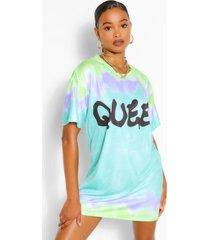 tie dye queen slogan oversized t shirt dress, turquoise