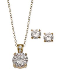 giani bernini 2-pc. set cubic zirconia round pendant necklace and stud earring set in 18k gold-plated sterling silver, 18k rose gold-plated and sterling silver created for macy's