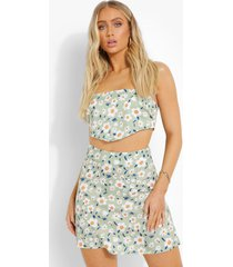 bloemenpatroon hemdje en mini rokje, pistachio