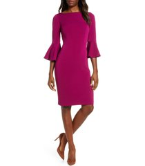 women's harper rose bell sleeve bateau neck sheath dress, size 6 - pink