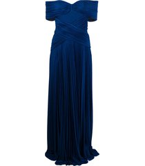 elisabetta franchi micro-pleated dress - blue