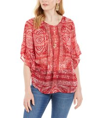 style & co abstract-print pintuck blouse, created for macy's