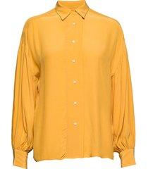 d2. drapy puff sleeve shirt overhemd met lange mouwen geel gant