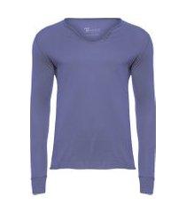 t-shirt masculina manga longa com botões acabamento a fio slim fit algodão pima - azul