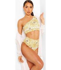tile print one shoulder high waist bikini, yellow