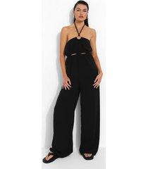 linnen jumpsuit met halter neck en uitsnijding, black