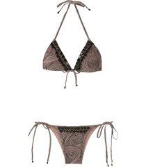 amir slama embellished triangle bikini set - neutrals