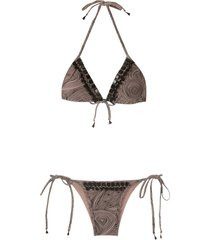 amir slama embellished triangle bikini set - neutrals