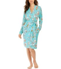 sesoire floral-print french terry short wrap robe