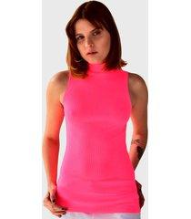 blusa regata brohood gola alta canelada rosa neon