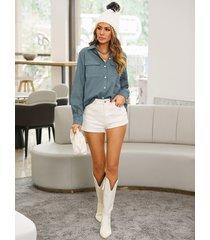 blusa delantera con botones y diseño de bolsillo azul yoins