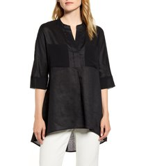 women's anne klein asymmetrical hem linen tunic top, size large - black