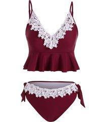lace panel knotted tankini swimwear