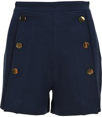 see by chloé see by chloe blue high-waisted buttoned shorts