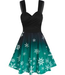 ruched snowflake print mini cami dress