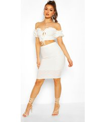 broderie anglaise bardot crop top&midi skirt co-ord, cream