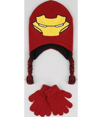 kit infantil de gorro homem de ferro + luva em tricô vermelha