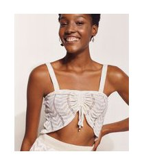 top cropped de tricô feminino hype beachwear estampado chevron alça média decote reto bege claro