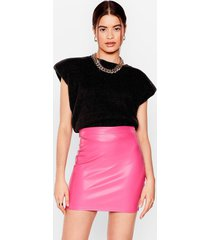 womens pros and bodycons faux leather mini skirt - hot pink