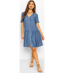 chambray mock horn button smock dress, mid blue