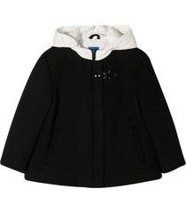 fay black jacket with white hood