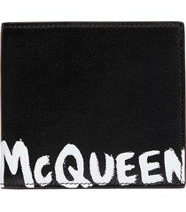 'graffiti' logo print leather bifold wallet