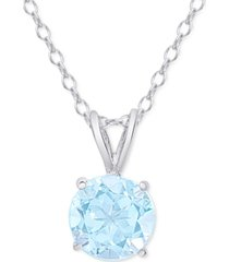 "aqua topaz round solitaire 18"" pendant necklace (1-1/2 ct. t.w.) in sterling silver"