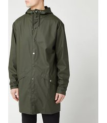 rains men's long jacket - green - m-l
