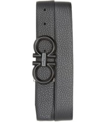 men's salvatore ferragamo reversible leather belt, size 36 - nero / asfalto grey