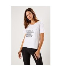 camiseta malha silk texto mounta sacada feminina