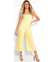 ditsy floral cami culotte jumpsuit, yellow