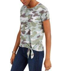 lucky brand cotton camo side-tie t-shirt