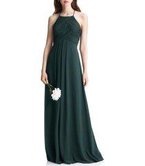 women's #levkoff halter chiffon a-line gown, size 8 - green